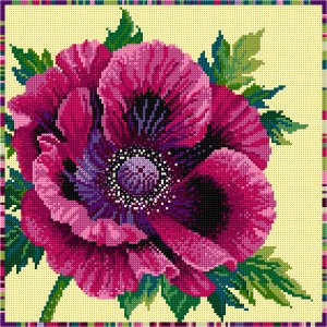 Needlepoint purple poppy as an example - Simulation