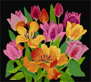 Tulips in needlepoint black background - Simulation