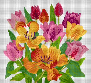 Tulips in needlepoint - Simulation